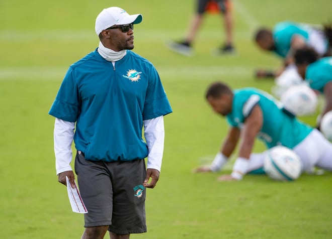Miami Dolphins head coach Brian Flores at Miami Dolphins training camp August 26, 2020.  [ALLEN EYESTONE/The Palm Beach Post]