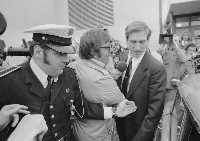 Bobby Fischer of the U.S. leaves Laugardal Hall in Reykjavik after Boris Spassky of the U.S.S.R. resigned from the world chess championships Sept. 1, 1972.