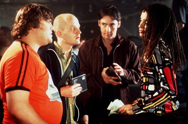 """Jack Black, left, Todd Louiso, John Cusack and Lisa Bonet in """"High Fidelity."""""""