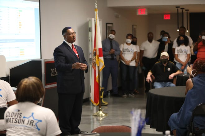 Clovis Watson Jr. speaks to supporters after winning the Democratic primary for Alachua County sheriff on Aug. 18.  Watson defeated Sadie Darnell, who has been sheriff since 2006, and will face only a write-in candidate in November.