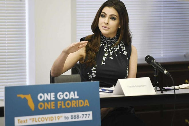 Florida First Lady Casey DeSantis addresses a roundtable discussion on Aug. 4 in Jacksonville.