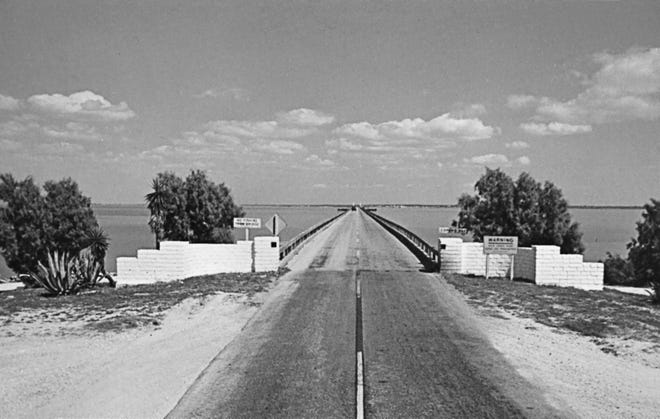 A postcard of Copano Bay Causeway near Rockport, Texas published by postcard publisher Don Bartels. The postcard is from the Aransas County Historical Society's Digital Photo Collection, courtesy of the Gordon Stanley Postcard Collection.