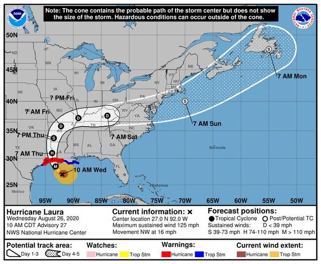 Hurricane Laura impact cone as of 10 a.m. Aug. 26, 2020.