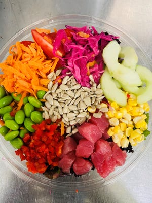 Poke bowls of sliced and diced fresh tuna and vegetables Hawaiian-style are the specialty of Poke Xpress, a new pop-up  takeout in South Jersey's downtown Haddonfield