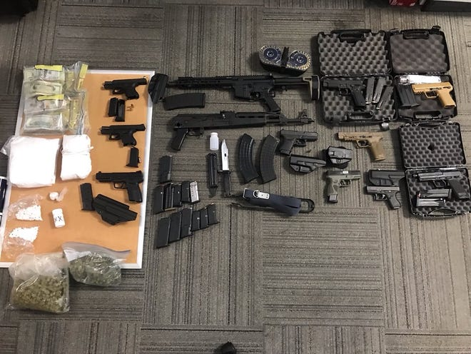 Items seized during an arrest in Roselawn on Monday.