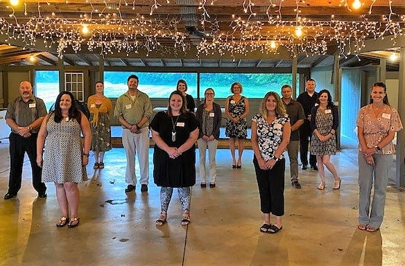 Members of the Leadership Coshocton County Class of 2021 at a recent opening ceremony held at Schumaker Farms. An opening retreat will be on Sept. 13.
