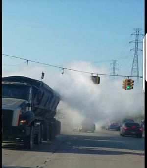 Truck emitting dust in Dearborn, as presented to city council Tuesday.