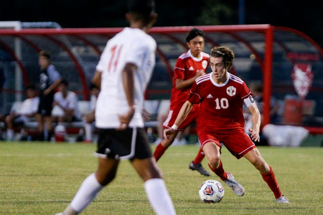 West Lafayette's Carson Cooke (10) dribbles during the second half of an IHSAA boys soccer match, Tuesday, Aug. 25, 2020 in West Lafayette.
