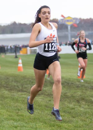 Katie Carothers of Brighton placed 22nd in the 2019 state Division 1 cross country meet to earn all-state.