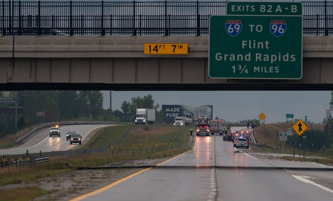 Emergency responders on-scene at an incident just north of the Lake Lansing exit on northbound US-127 Wednesday morning, Aug. 26, 2020.  Northbound traffic has been shut down and officials are investigating.