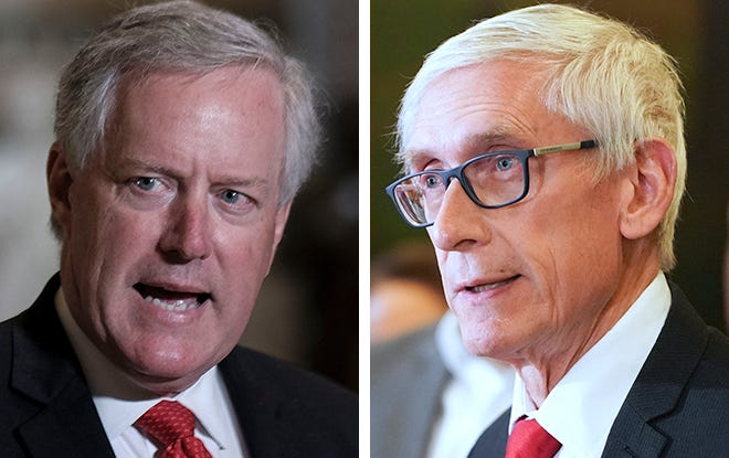Mark Meadows, White House chief of staff, left, and Wisconsin Gov. Tony Evers