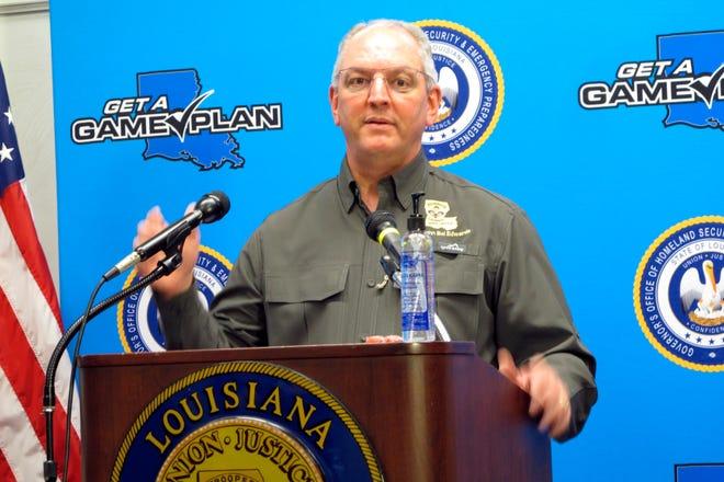 Louisiana Gov. John Bel Edwards talks about the expected impact of Hurricane Laura, Tuesday, Aug. 25, 2020, in Baton Rouge, La. (AP Photo/Melinda Deslatte)