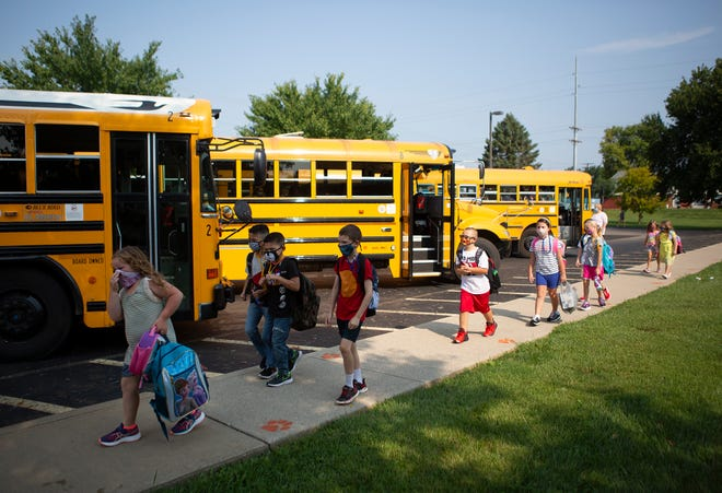 Students attend the first day of school in Heath City Schools in 2020. For this year, students will not be required to wear masks at Licking County schools.