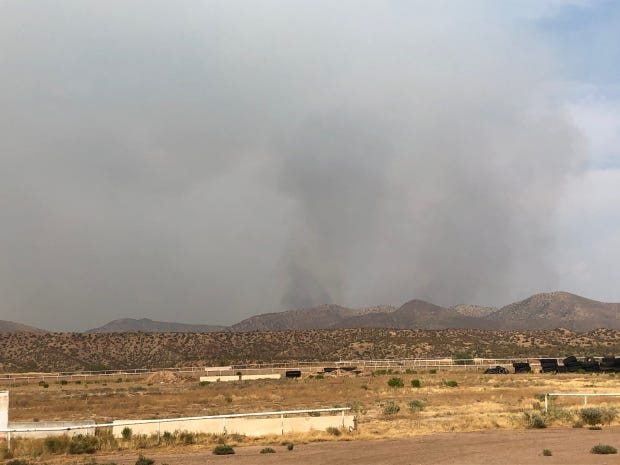 Smoke from the Griffin Fire is seen on Aug. 24, 2020, in Tonto National Forest.