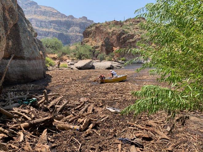Storm debris fills Apache Lake on Aug. 25, 2020.