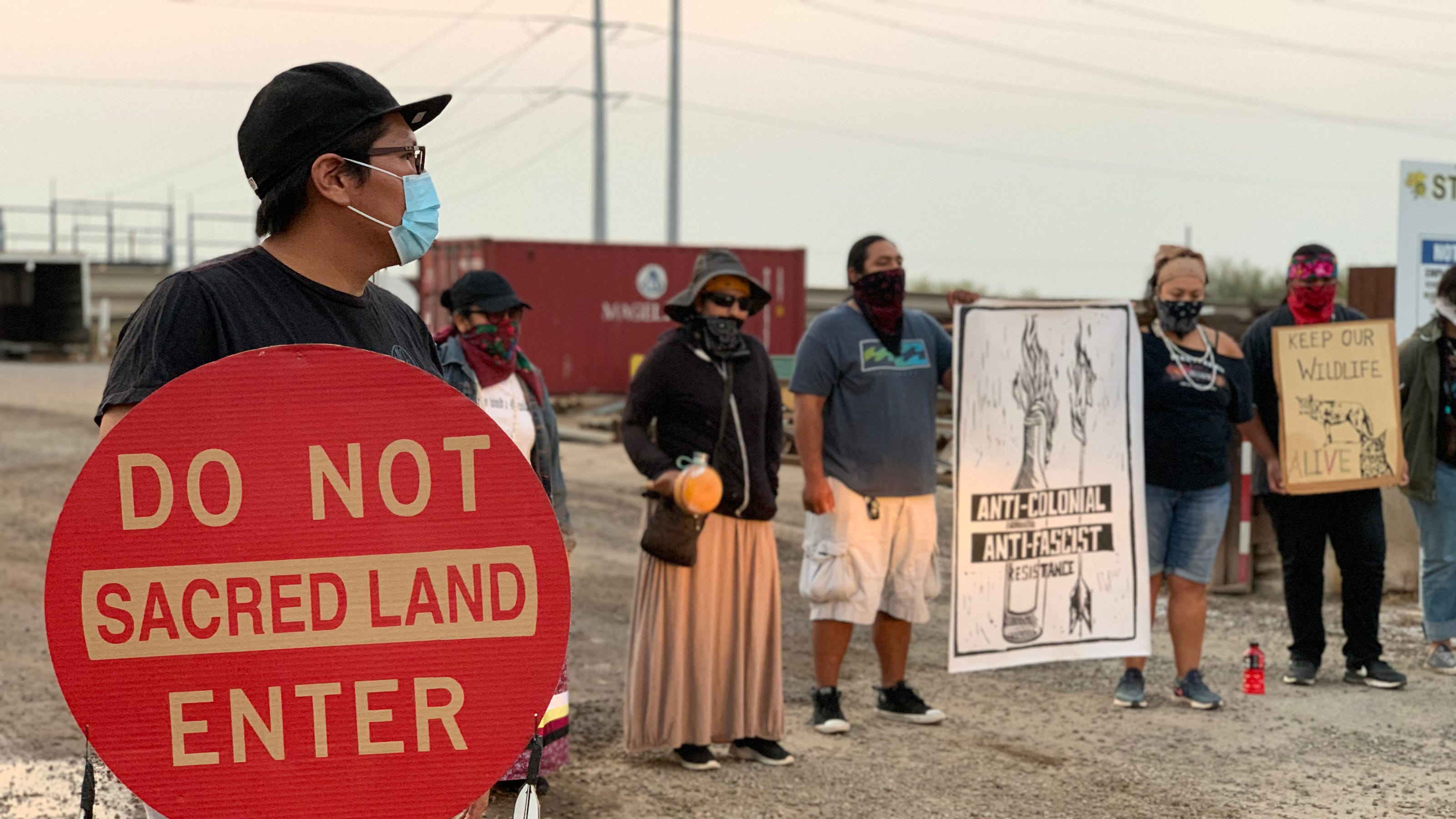 O'odham members block border wall assembly site to protest desecration of tribal lands