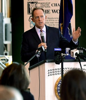 U.S. Senator Pat Toomey (R-Pa.) answers a question during a forum with local economic leaders and business owners regarding the COVID-19 pandemic's impact on the economy Wednesday, August, 26, 2020. The event took place at the York County History Center's Agricultural & Industrial Museum. Bill Kalina photo