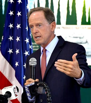 U.S. Senator Pat Toomey (R-Pa.) speaks during a forum with local economic leaders and business owners regarding the COVID-19 pandemic's impact on the economy Wednesday, August, 26, 2020. The event took place at the York County History Center's Agricultural & Industrial Museum. Bill Kalina photo