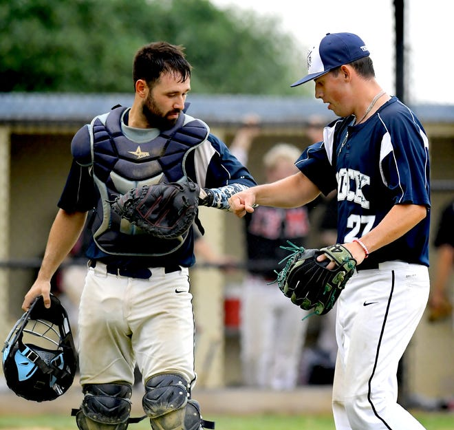 Glen Rock catcher Jonathan Lugo and pitcher Conor Miller celebrate a successful inning against Mechanicsburg in Game 3 of the Central League Baseball Playoff Championship Series at Glen Rock Tuesday, August, 25, 2020. Glen Rock is one game away from the title, winning 10-2. Bill Kalina photo