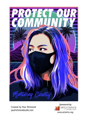 Local artist Paul Richmond created this poster to encourage mask wearing.