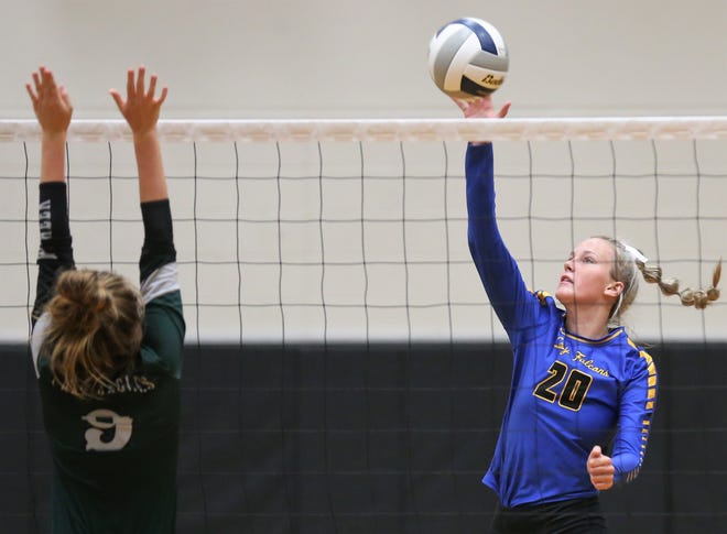 Veribest's Bella Halfmann goes up for a shot as Grape Creek's Marissa Jasso defends on the play during a volleyball match at Grape Creek High School on Tuesday, Aug. 25, 2020.