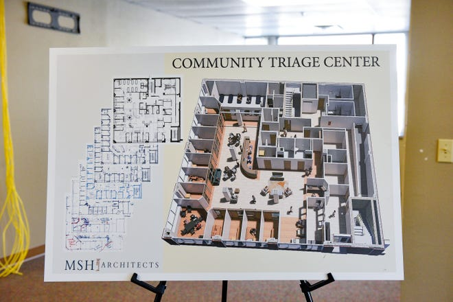 A poster shows the layout of the future Link community triage center on Wednesday, August 26, in Sioux Falls.