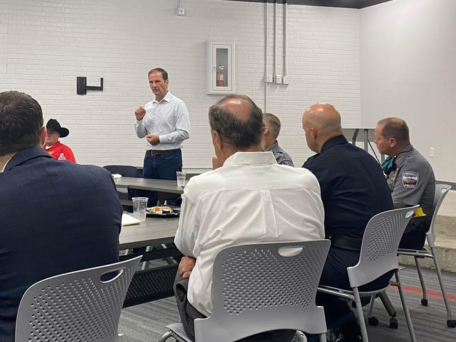 Congressman Chris Stewart speaks to local law enforcement leaders at a breakfast at Dixie State University on Aug. 26, 2020.