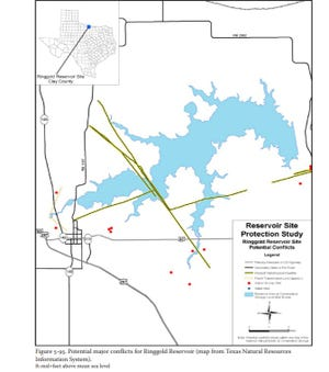 """A Texas Water Development Board graphic shows the proposed """"Lake Ringgold"""" in Clay County that would provide about 65,000 acre-feet of water for Wichita Falls and its 15 wholesale water customers. The project is highly contested by many Clay County residents."""