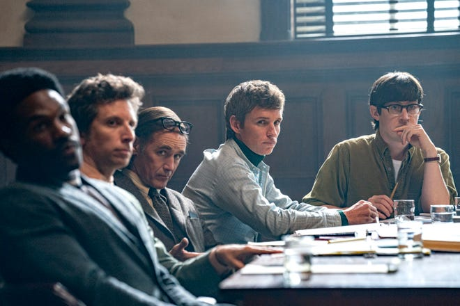 """Yahya Abdul-Mateen II (from left), Ben Shenkman, Mark Rylance, Eddie Redmayne and Alex Sharp star in Aaron Sorkin's drama """"The Trial of the Chicago 7,"""" about organizers charged with inciting a riot after a 1968 protest at the Democratic National Convention."""
