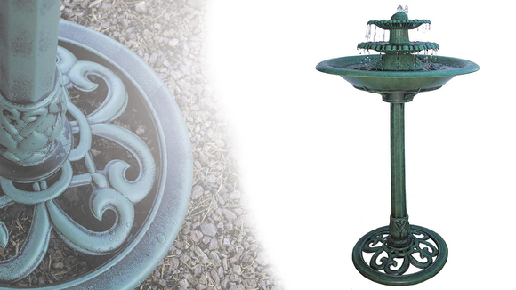 The green patina finish on this fountain makes it looks like it has stood in your garden for years