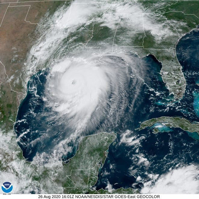 Hurricane Laura spins in the Gulf of Mexico on  Aug. 26.