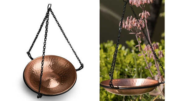 This hanging basin offers a much safer place for birds to bathe than a grounded fountain