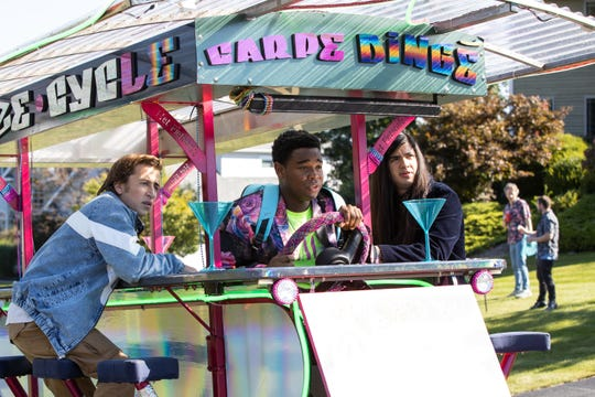 "Set in a time where all drugs and alcohol are illegal, a trio of teens (from left, Skyler Gisondo, Dexter Darden and Eduardo Franco) get ready to party hard for one night only in ""The Binge."""
