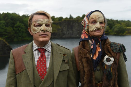 "Eddie Izzard and Georgie Glen are masked villains hunting teenage boys in the horror comedy ""Get Duked!"""