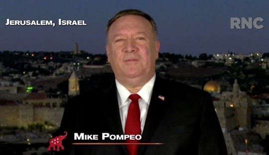 Secretary of State Mike Pompeo addresses the Republican National Convention in a prerecorded video from Jerusalem, Israel, on Aug. 25, 2020.