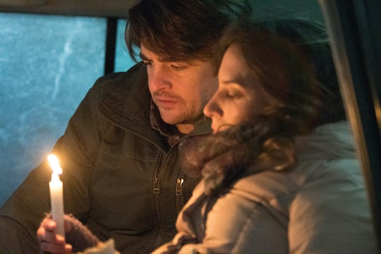 "Vincent Piazza and Genesis Rodriguez star as a married couple trapped in their vehicle after an icy blizzard in the survival horror film ""Centigrade."""