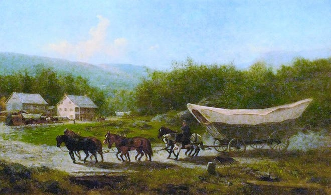 Portrait of a Conestoga wagon hauling freight in frontier Pennsylvania in 1883.