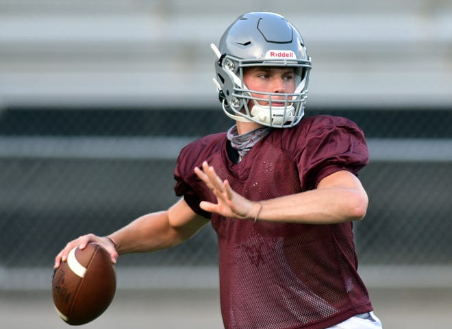 Beaver High School's Brady Hansen looks to pass during practice on Aug. 24, 2020. Hansen suffered a torn ACL in Beaver's season opener against Blackhawk, his second serious knee injury in two seasons.