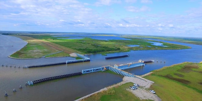 The Bubba Dove Floodgate, in the Houma Navigation Canal near Dulac, is part of the Morganza-to-the-Gulf hurricane-protection system.