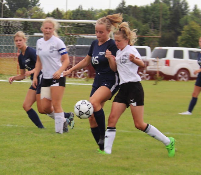 Olivia Huck against Walker-Hackensack-Akeley on Aug. 27. Huck scored a goal in a 4-0 win over the Wolves in Walker Tuesday afternoon.
