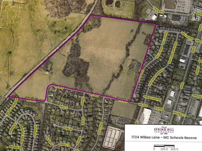 Williamson County Schools is requesting a rezone to 23 acres of property off Wilkes Lane to be developed into a new elementary school, which is estimated to open in the fall of 2022. (Courtesy graphic)