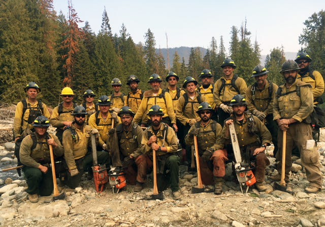 A crew from Delaware fights fires in Idaho in 2018.