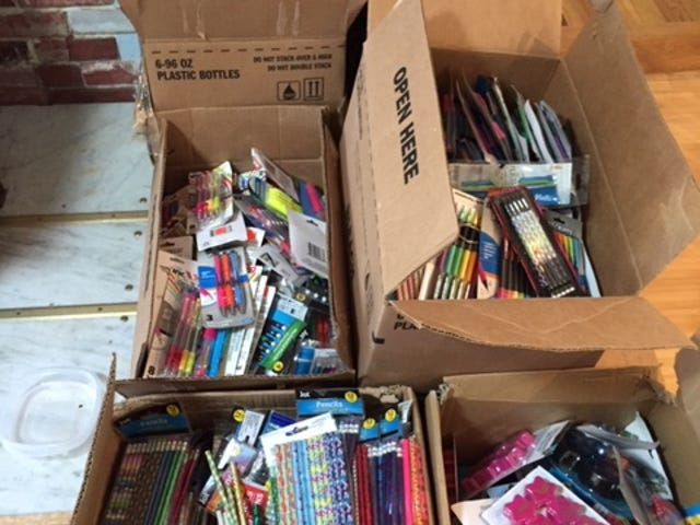 Lions Club members recently distributed thousands of school supplies to the three Ellwood City Area schools and Riverside Middle School.