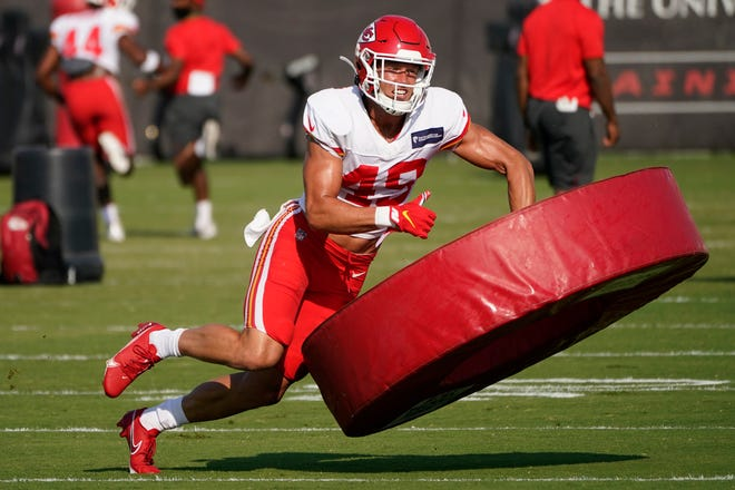 Kansas City Chiefs safety Daniel Sorensen participates in a drill during an NFL football training camp practice.