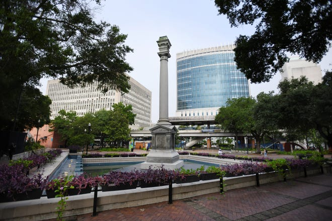 Hemming Park, now known as James Weldon Johnson Park, is shown on June 9, 2020, following the removal of the Confederate soldier statue which had overlooked the park for more than a century.