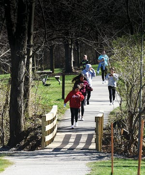 Hudson city officials are working on how to improve connectivity for walkers. This photo was taken at Hudson Springs Park in the spring.