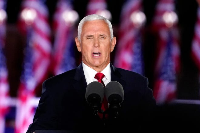 Vice President Mike Pence speaks on the third day of the Republican National Convention at Fort McHenry National Monument and Historic Shrine in Baltimore, Wednesday.
