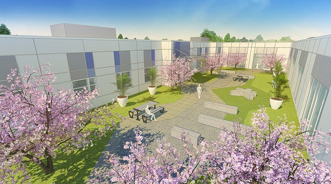 Lakeland Regional Health's proposed $46 million facility will include a interior courtyard space between the various buildings, as artistic rendered above. The Center for Behavioral Health and Wellness is now slated for completion in 2022.