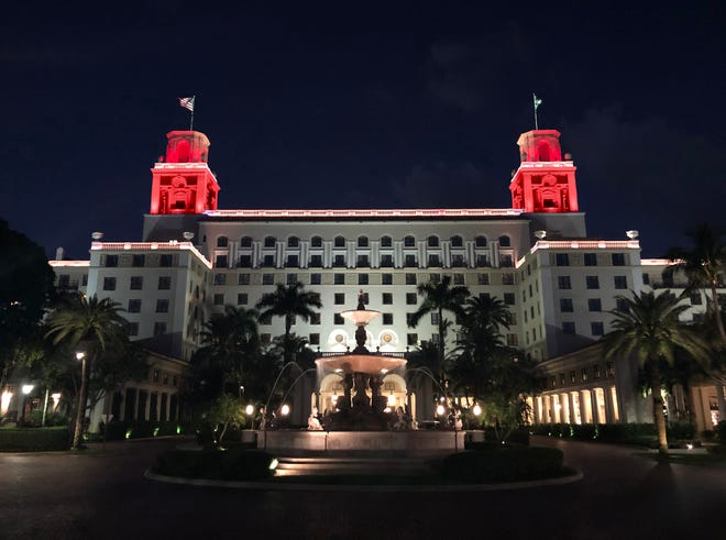 The Breakers is one of the Palm Beach County organizations that will illuminate its building with red lights on Tuesday in support of federal COVID-19 relief for the live events industry. [Courtesy of The Breakers Palm Beach]