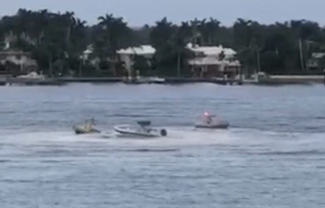 This screen grab from a video shows a boat that threw its two passengers, then spun in circles before it could be stopped, on Aug. 22, 2020 in the Intracoastal Waterway near Palm Beach.